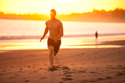 beach sprints are great to burn belly fat